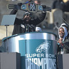PETE BANNAN-DIGITAL FIRST MEDIA        Malcolm Jenkins holds a champion belt during the Eagles Championship Celebration.
