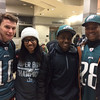 Left to right: Family friend Arlyn Buondonno traveled to the Eagles Championship Parade with the Hughes family, Jordan, Jeffrey Jr., and Jeffrey Sr., of Yardley PA.<br /> L.A. Parker - The Trentonian