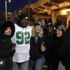 Waiting for Philly-bound train in Marcus Hook, Theresa Emmens,David Harrell, Allison Smith, Tina Smith and Romelle Thompson excited to share big day with fellow Eagles fans.. Photo by Rose Quinn
