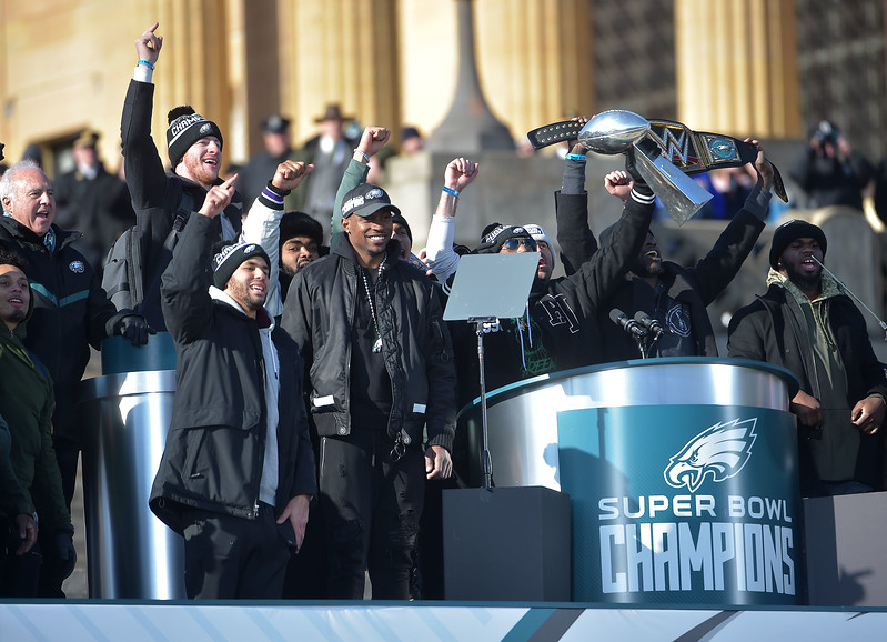 PETE BANNAN-DIGITAL FIRST MEDIA     Eagles players celebrate at the end of the Championship Celebration.