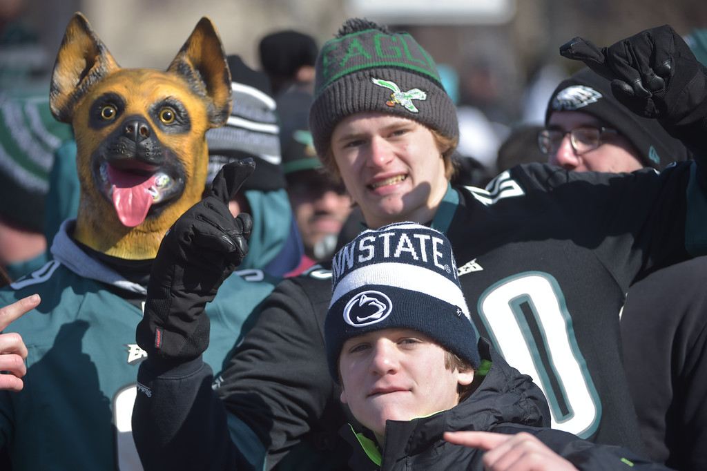 . PETE BANNAN-DIGITAL FIRST MEDIA       Underdogs no more, Eagles fans wait for the parade along thr Parkway.