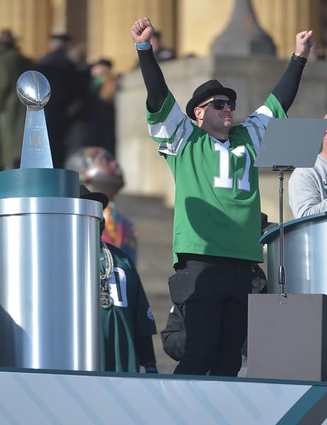 PETE BANNAN-DIGITAL FIRST MEDIA        Tightend Brent Celek wore a Harold Charmichael throwback jersey.