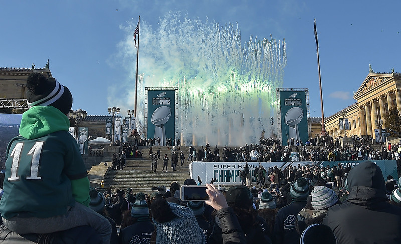 PETE BANNAN-DIGITAL FIRST MEDIA       Fireworks explode at the conclusion of the Eagles Championship celebration..