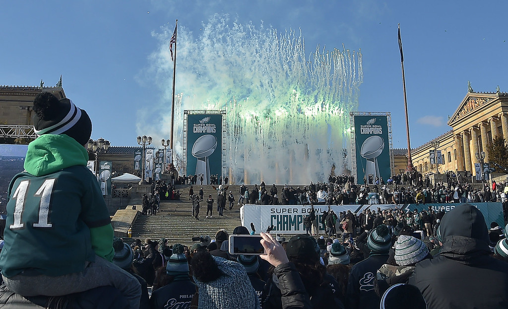 . PETE BANNAN-DIGITAL FIRST MEDIA       Fireworks explode at the conclusion of the Eagles Championship celebration..