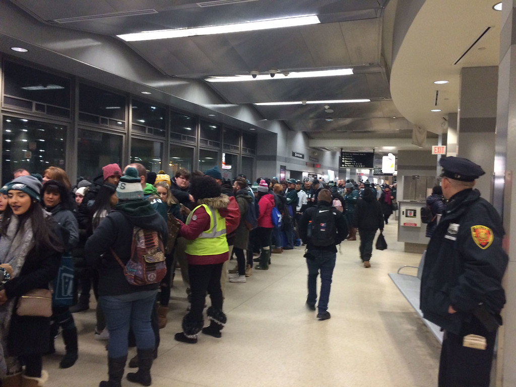 . Trenton Transportation Center packed with Eagles fans as SEPTA ran three early-morning trains to Philadelphia for the Eagles Championship parade.