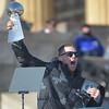 PETE BANNAN-DIGITAL FIRST MEDIA     Zach Ertz holds up the Vince Lombardi trophy during the Eagles Championship Celebration.