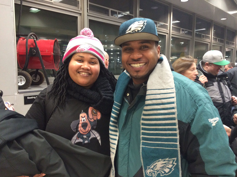 Adrienne Shaw and J.R. Scott waited at the Trenton Transit Center for a train to Philadelphia for the Eagles Championship Parade. <br /> L.A. Parker - The Trentonian