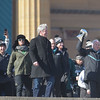 PETE BANNAN-DIGITAL FIRST MEDIA       Eagles coach Doug Pederson and  owner, Jeff Laurie withthe Vince Lombardi Trophy lead the team down the steps at the Philadelphia Art Museum for the Eagles Championship Celebration.