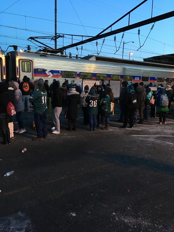 . Happy #Eagles fans  boarding #SEPTA Train 418 in Marcus Hook. Photo by Rose Quinn