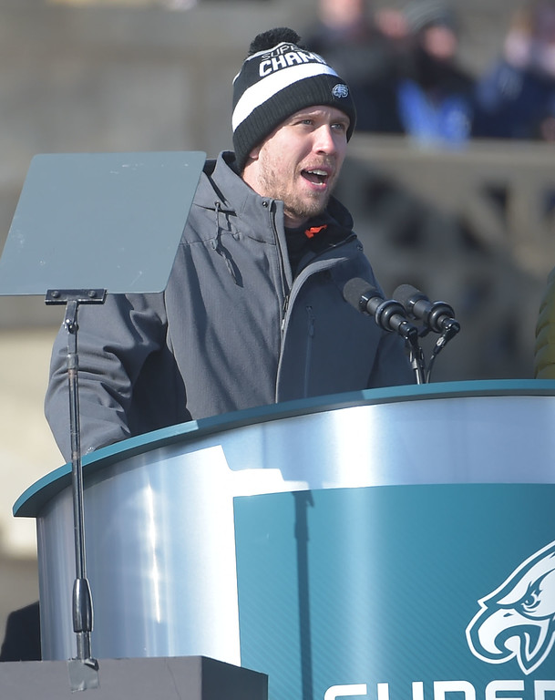 . PETE BANNAN-DIGITAL FIRST MEDIA        Nick Foles speaks during the Eagles Championship Celebration.