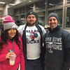Left to right: Hannah, Bob and Evan of Bucks County were in celebration mode at the Trenton Transit Center for the Eagles Championship Parade despite an early-morning wake up call.