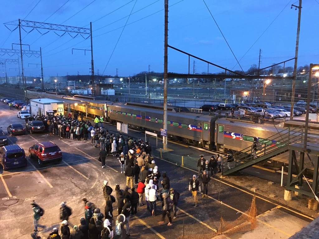 . Eagles fans wait for the train in Marcus Hook. Photo by Rose Quinn.