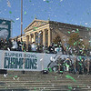 PETE BANNAN-DIGITAL FIRST MEDIA       Confetti rains down as the Eagles celebrated their championship on the Philadelphia Art museum steps.