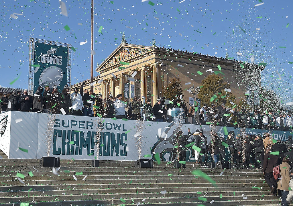 . PETE BANNAN-DIGITAL FIRST MEDIA       Confetti rains down as the Eagles celebrated their championship on the Philadelphia Art museum steps.