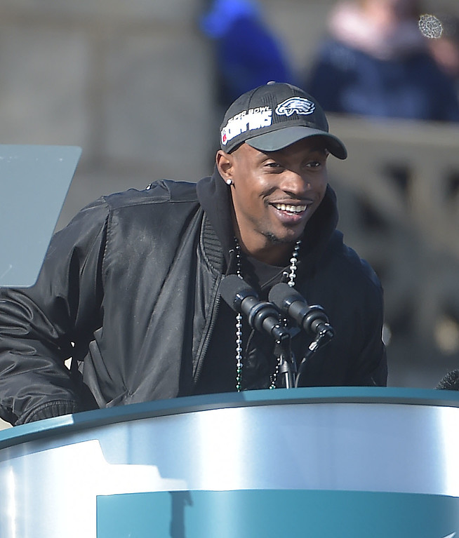 . PETE BANNAN-DIGITAL FIRST MEDIA        Alshon Jeffery speaks during the Eagles Championship Celebration.