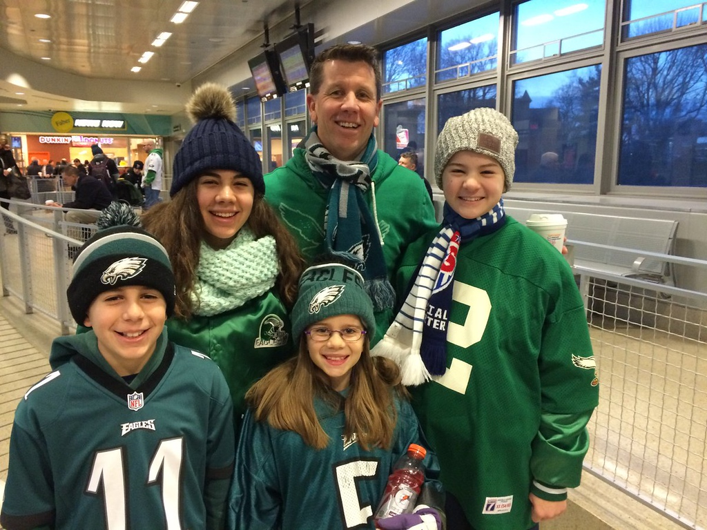 . Peterson Family get minimal affection in Patriots\' country Connecticut. Headed to Philly Philly for Brotherly Love and Eagles Super Bowl parade. Photo by L.A. Parker