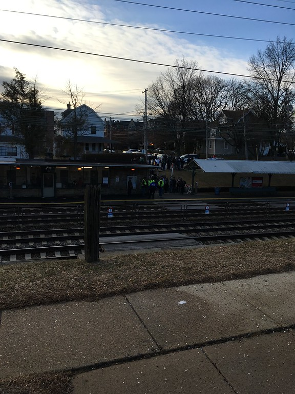 . Eagles fans in Ridley Park waiting for next Parade-bound train.. Photo by Rose Quinn