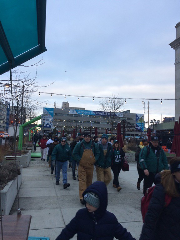 . Eagles fans make their way to the Art Museum in Philadelphia. Photo by Kathleen E. Carey