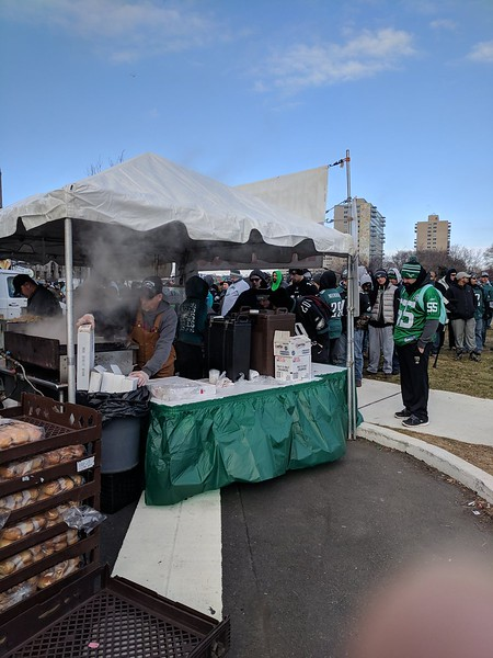 The best Philly cheesesteak in town is the cheesesteak at an Eagles Super Bowl parade. Photo by Matt DeGeorge.