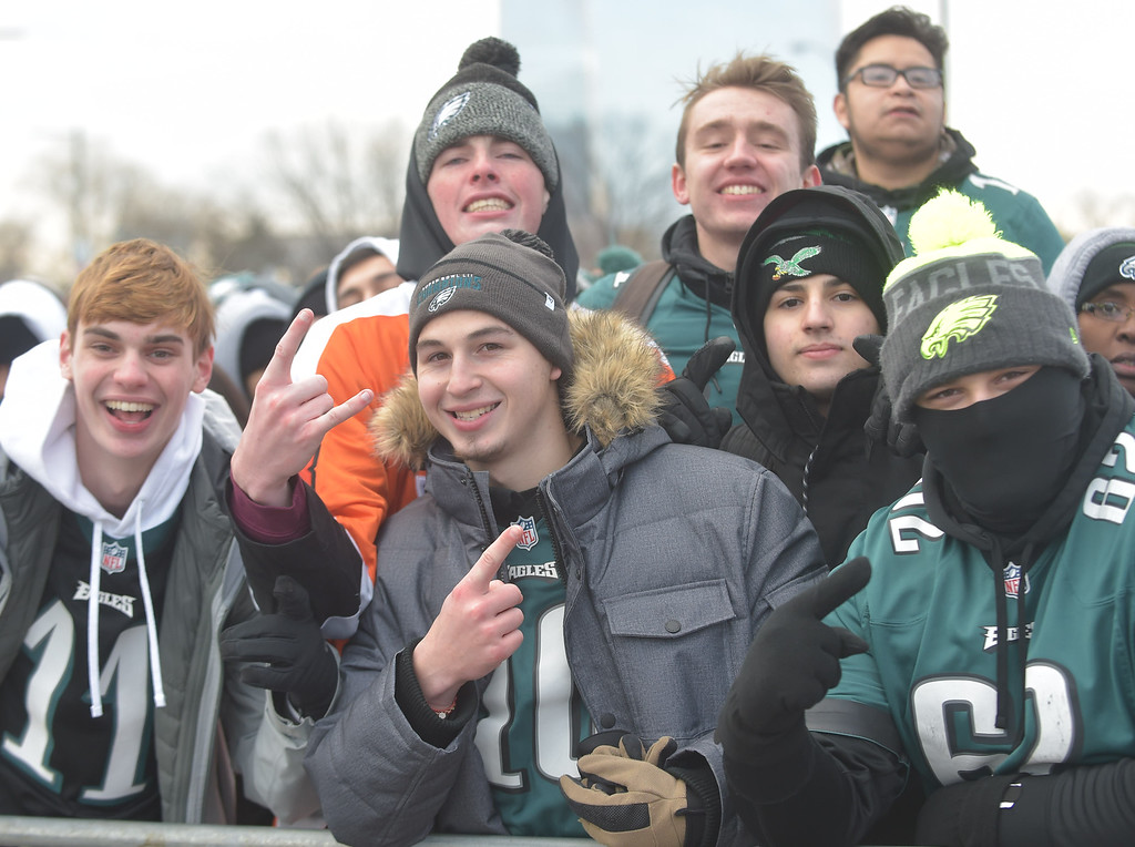 . PETE BANNAN-DIGITAL FIRST MEDIA      These Eagles fans are Collin Spencer of Paoli, Shane Connely of West Chester, Jeff O\'Connell of Downingtown Derric Vincent of Long Beach Island, Mario Ramos of Reading and Eric Levasi of West Chester. They all go to Ursinus University together.