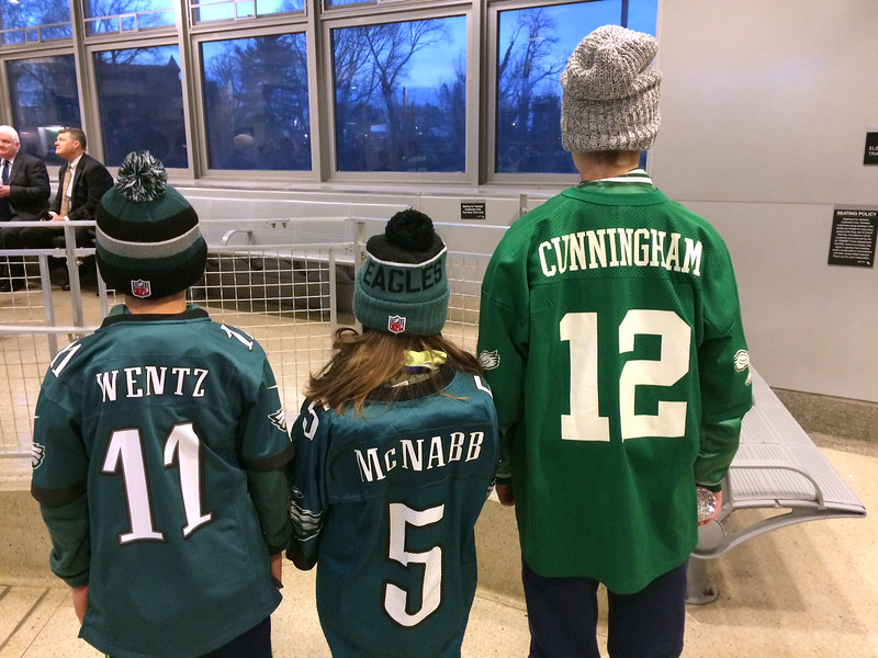 The Peterson children broke out the full range of Eagles QB jerseys for the championship parade. <br /> L.A. Parker - The Trentonian