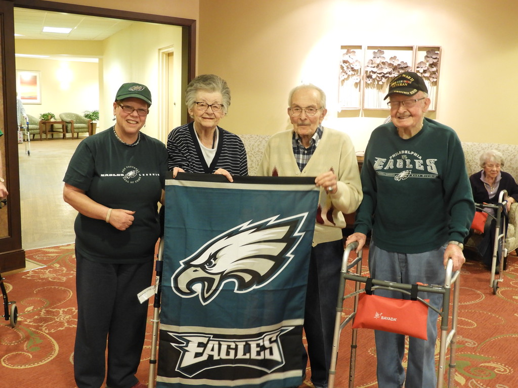 . Die-hard Eagles fans showed their pride at Wesley Enhanced Living in Media. The residents have waited decades for an Eagles parade in Philly!