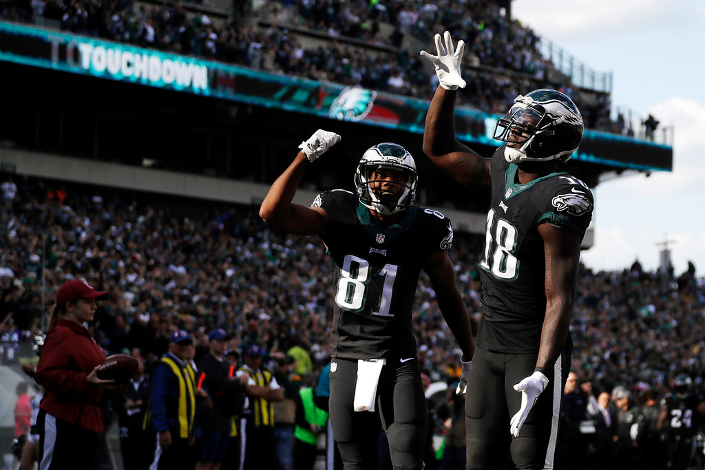 . Philadelphia Eagles\' Dorial Green-Beckham, right, celebrates his touchdown with Jordan Matthews during the second half of an NFL football game against the Minnesota Vikings, Sunday, Oct. 23, 2016, in Philadelphia. (AP Photo/Michael Perez)