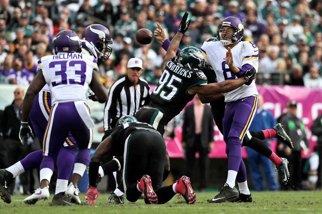 . Minnesota Vikings\' Sam Bradford, right, fumbles the football as Philadelphia Eagles\' Mychal Kendricks tackles during the first half of an NFL football game, Sunday, Oct. 23, 2016, in Philadelphia. (AP Photo/Michael Perez)