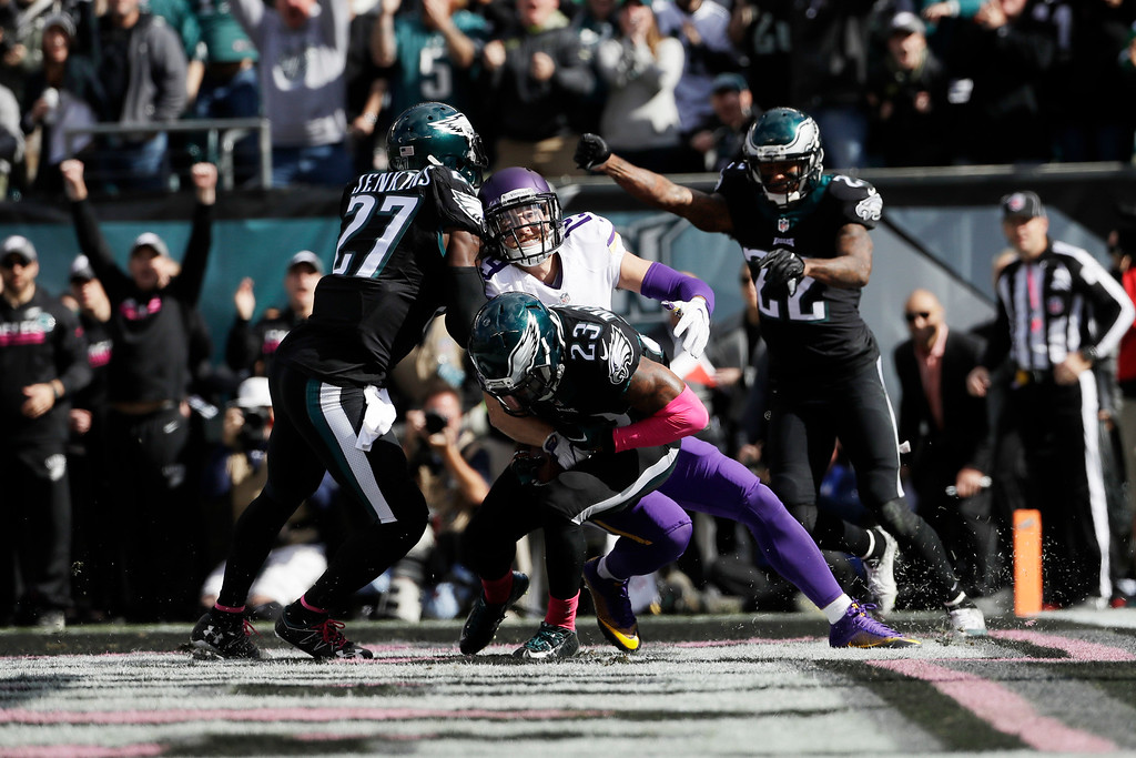 . Philadelphia Eagles\' Rodney McLeod (23) intercepts a pass during the first half of an NFL football game against the Minnesota Vikings, Sunday, Oct. 23, 2016, in Philadelphia. (AP Photo/Michael Perez)