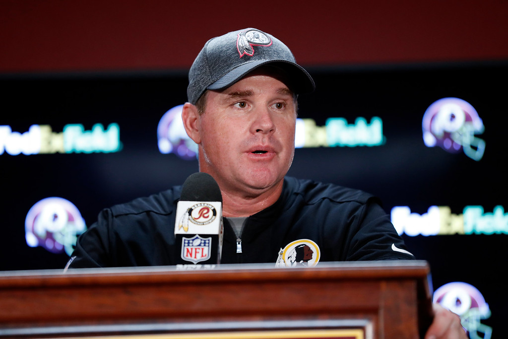 . Washington Redskins head coach Jay Gruden speaks at a news conference after an NFL football game against the Philadelphia Eagles, Sunday, Oct. 16, 2016, in Landover, Md. (AP Photo/Alex Brandon)