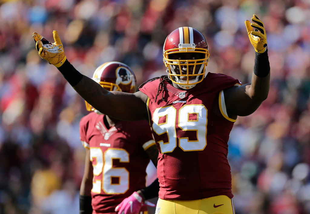 . Washington Redskins defensive end Ricky Jean Francois (99) gestures to fans in the second half of an NFL football game against the Philadelphia Eagles, Sunday, Oct. 16, 2016, in Landover, Md. (AP Photo/Mark Tenally)