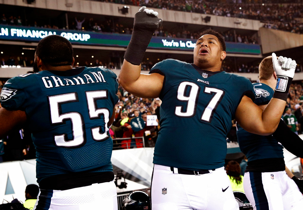 . Philadelphia Eagles\' Destiny Vaeao and Brandon Graham celebrate during the second half of the NFL football NFC championship game against the Minnesota Vikings Sunday, Jan. 21, 2018, in Philadelphia. (AP Photo/Patrick Semansky)
