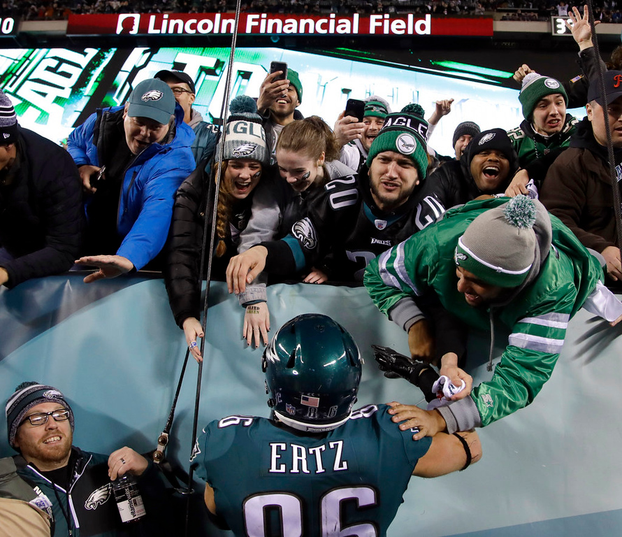 . Philadelphia Eagles\' Zach Ertz celebrates a touchdown with fans during the second half of the NFL football NFC championship game against the Minnesota Vikings Sunday, Jan. 21, 2018, in Philadelphia. (AP Photo/Matt Rourke)