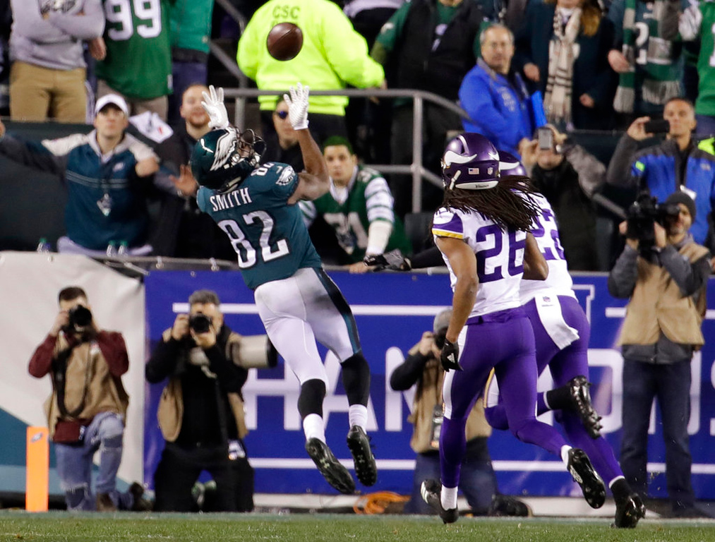. Philadelphia Eagles\' Torrey Smith catches a touchdown pass during the second half of the NFL football NFC championship game against the Minnesota Vikings Sunday, Jan. 21, 2018, in Philadelphia. (AP Photo/Matt Rourke)