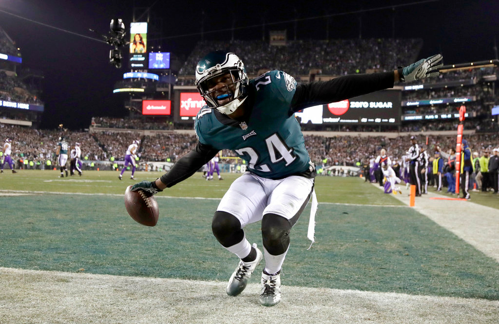 . Philadelphia Eagles\' Corey Graham reacts after intercepting a pass during the second half of the NFL football NFC championship game against the Minnesota Vikings Sunday, Jan. 21, 2018, in Philadelphia. (AP Photo/Matt Slocum)