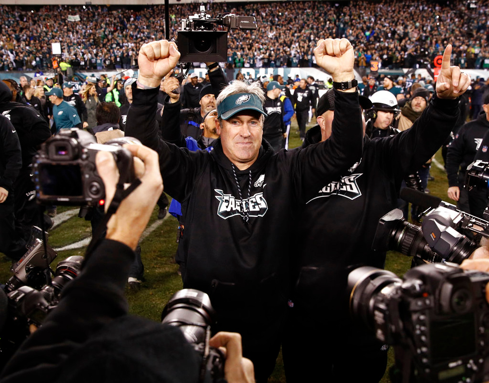 . Philadelphia Eagles head coach Doug Pederson reacts after the NFL football NFC championship game against the Minnesota Vikings Sunday, Jan. 21, 2018, in Philadelphia. The Eagle won 38-7 to advance to Super Bowl LII. (AP Photo/Patrick Semansky)