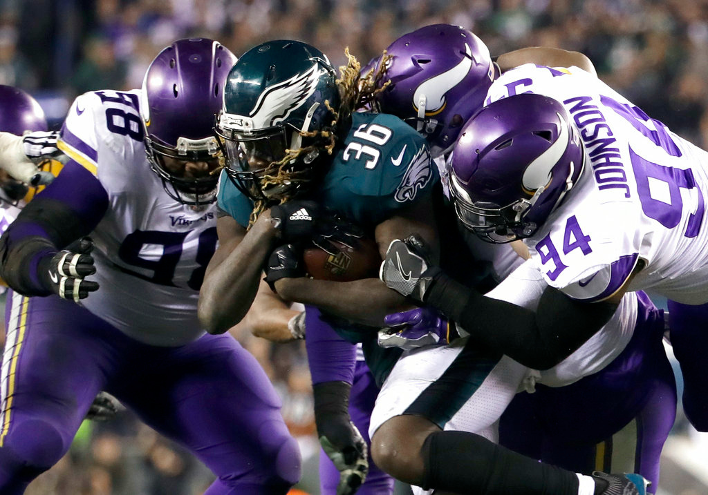. Philadelphia Eagles\' Jay Ajayi runs during the second half of the NFL football NFC championship game against the Minnesota Vikings Sunday, Jan. 21, 2018, in Philadelphia. (AP Photo/Matt Rourke)