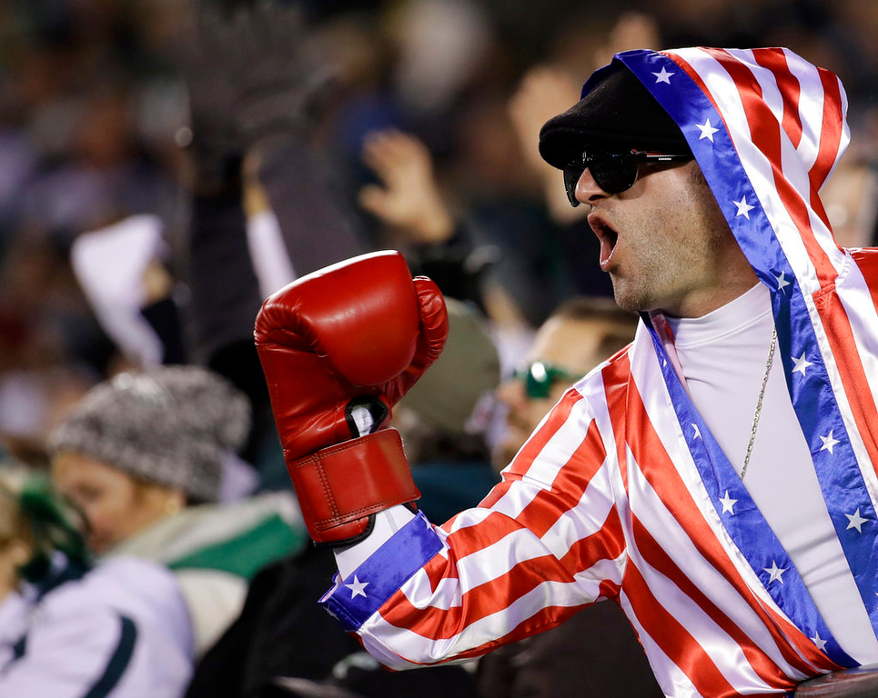 . A fan cheers during the second half of the NFL football NFC championship game between the Philadelphia Eagles and the Minnesota Vikings Sunday, Jan. 21, 2018, in Philadelphia. (AP Photo/Matt Rourke)
