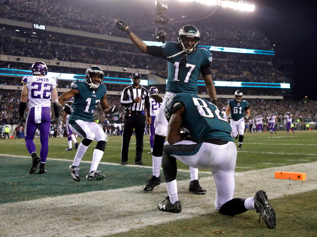 . Philadelphia Eagles\' Torrey Smith celebrates his touchdown catch during the second half of the NFL football NFC championship game against the Minnesota Vikings Sunday, Jan. 21, 2018, in Philadelphia. (AP Photo/Matt Slocum)