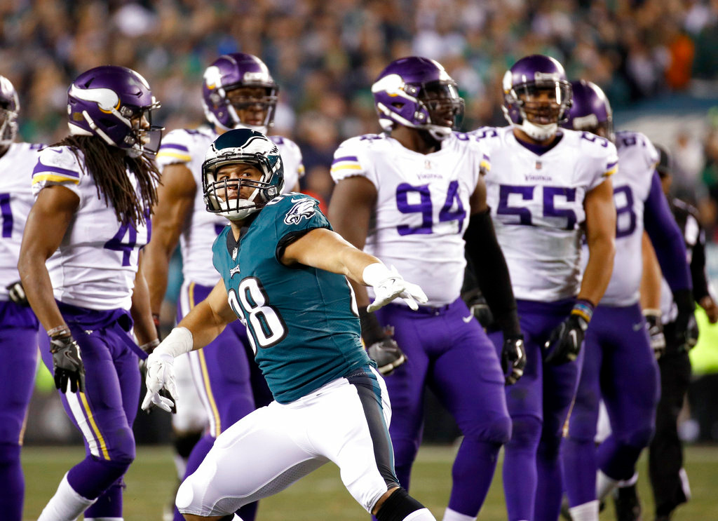 . Philadelphia Eagles\' Trey Burton reacts to a first down during the second half of the NFL football NFC championship game against the Minnesota Vikings Sunday, Jan. 21, 2018, in Philadelphia. (AP Photo/Patrick Semansky)