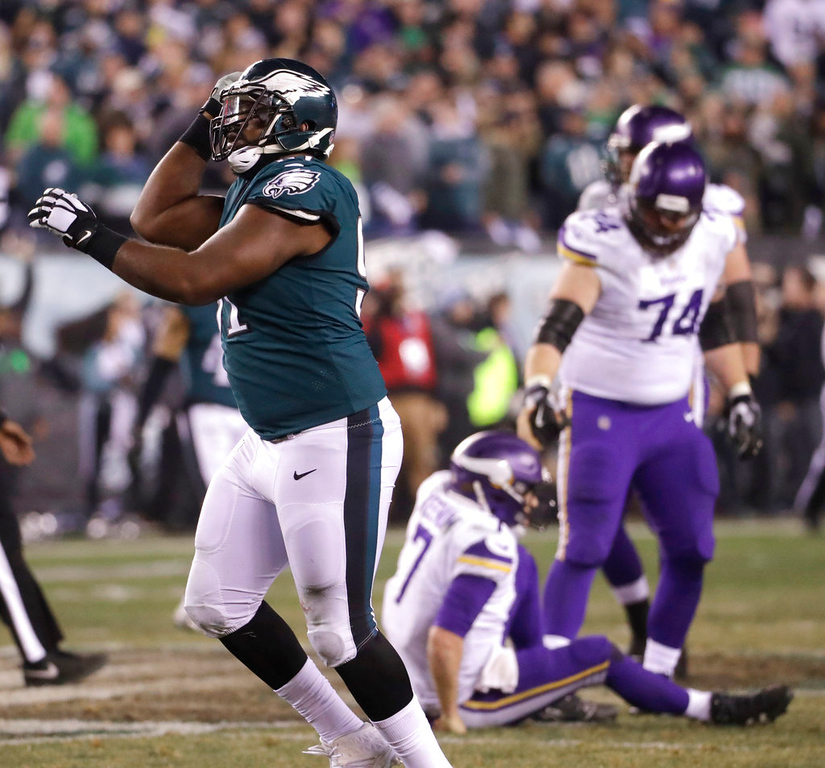 . Philadelphia Eagles\' Fletcher Cox celebrates after sacking Minnesota Vikings\' Case Keenum during the second half of the NFL football NFC championship game Sunday, Jan. 21, 2018, in Philadelphia. (AP Photo/Michael Perez)