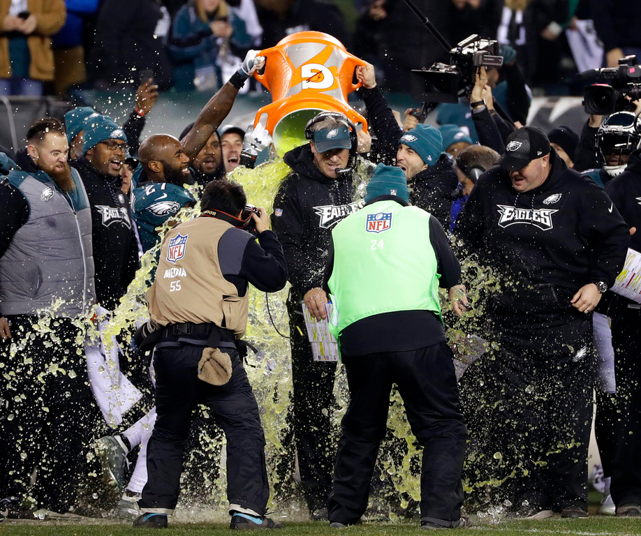 . Philadelphia Eagles head coach Doug Pederson is dunked during the second half of the NFL football NFC championship game against the Minnesota Vikings Sunday, Jan. 21, 2018, in Philadelphia. (AP Photo/Matt Slocum)