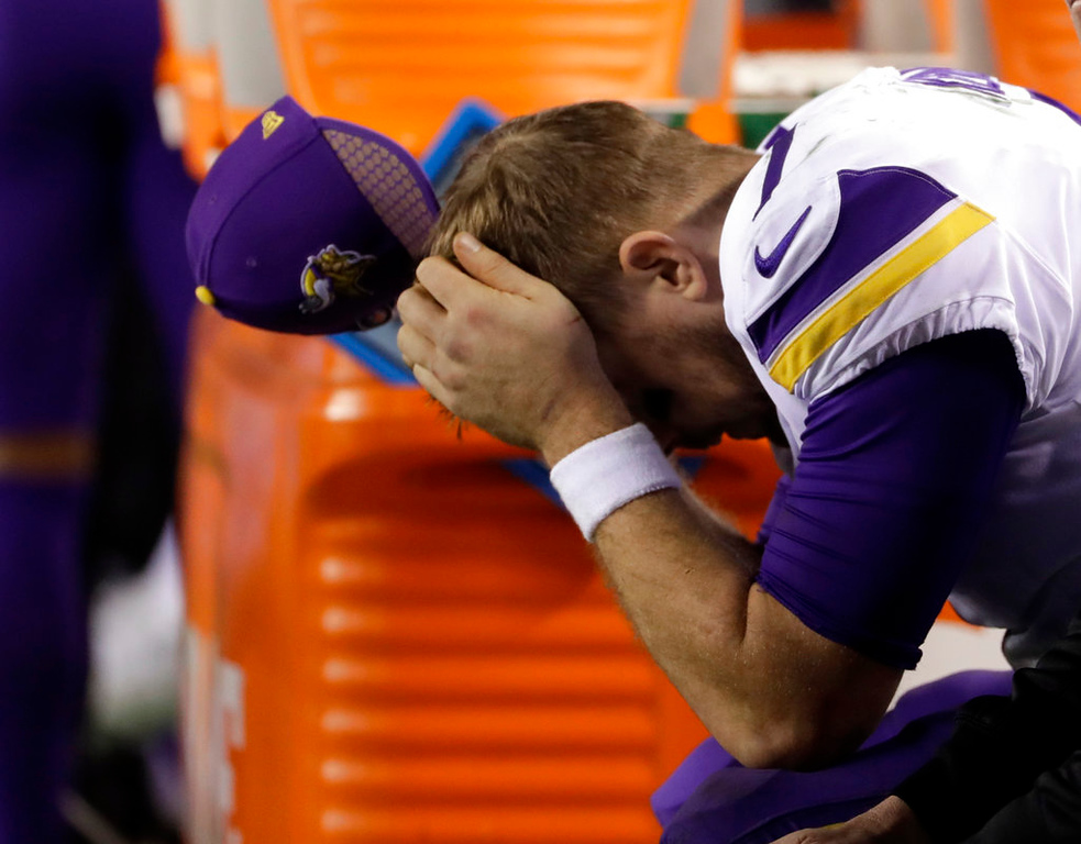 . Minnesota Vikings\' Case Keenum reacts on the bench during the second half of the NFL football NFC championship game against the Philadelphia Eagles Sunday, Jan. 21, 2018, in Philadelphia. (AP Photo/Matt Slocum)