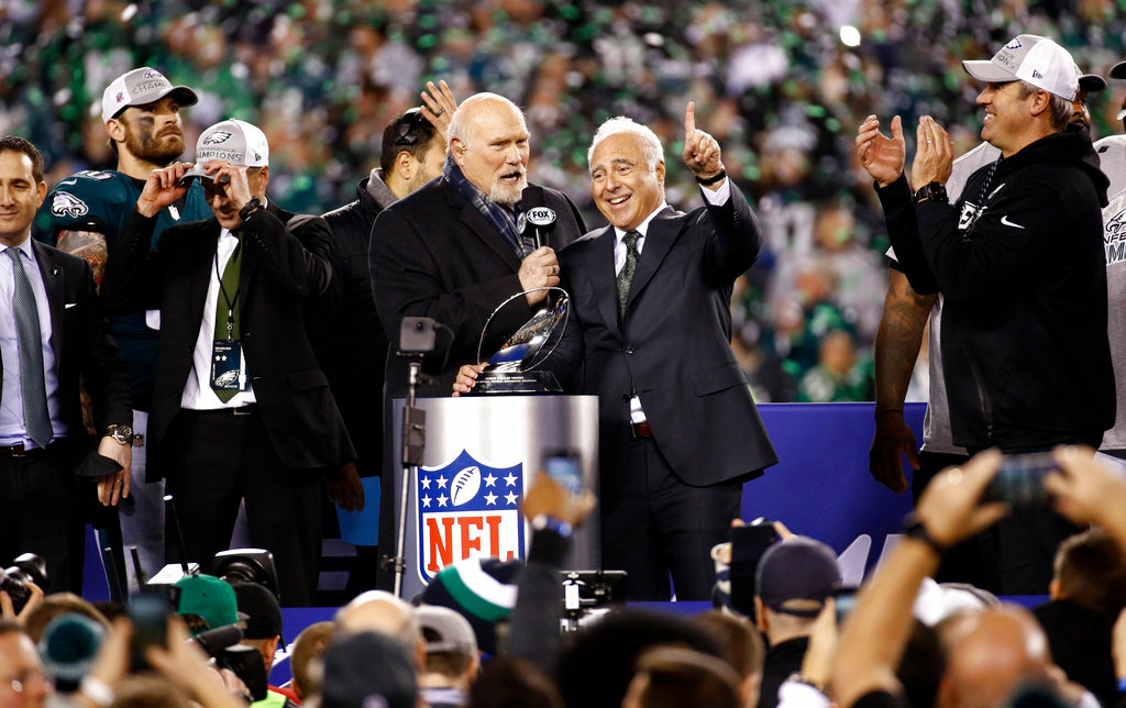 . Philadelphia Eagles owner Jeffrey Lurie celebrates after the NFL football NFC championship game against the Minnesota Vikings Sunday, Jan. 21, 2018, in Philadelphia. The Eagles won 38-7 to advance to Super Bowl LII. (AP Photo/Patrick Semansky)