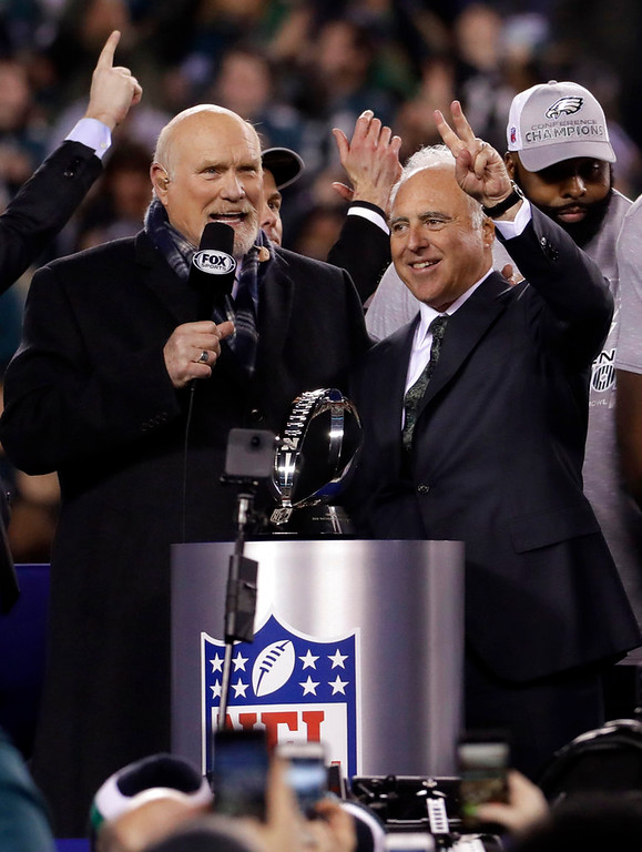 . Philadelphia Eagles owner Jeffrey Lurie celebrates after the NFL football NFC championship game against the Minnesota Vikings Sunday, Jan. 21, 2018, in Philadelphia. The Eagles won 38-7 to advance to Super Bowl LII. (AP Photo/Michael Perez)