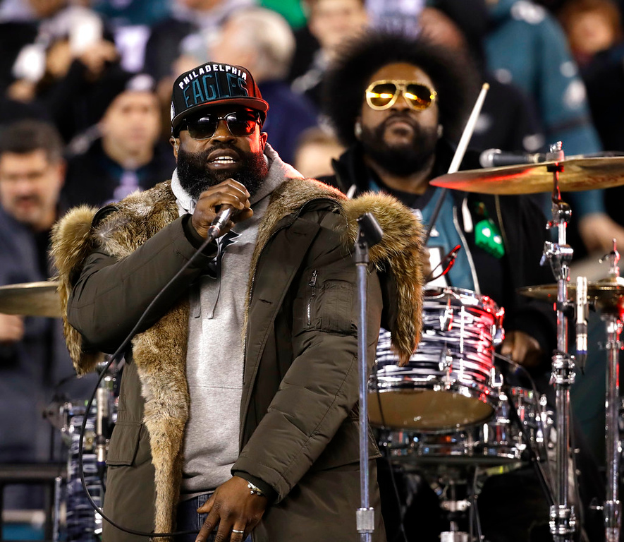 . The Roots perform during halftime of the NFL football NFC championship game between the Philadelphia Eagles and Minnesota Vikings Sunday, Jan. 21, 2018, in Philadelphia. (AP Photo/Matt Rourke)