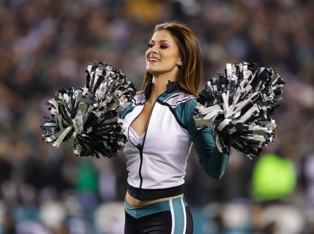 . A cheerleader performs during the second half of the NFL football NFC championship game between the Philadelphia Eagles and the Minnesota Vikings Sunday, Jan. 21, 2018, in Philadelphia. (AP Photo/Matt Slocum)