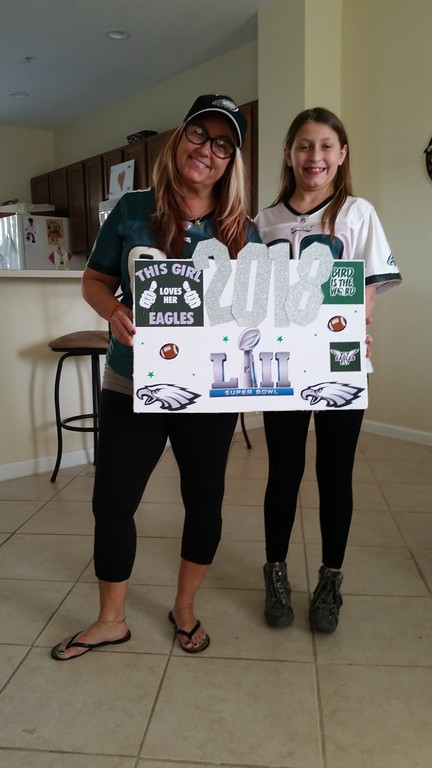 . My name is Carol Behr and my hometown is RIDLEY!  In one of the pictures is my friend Debra Mazakas and her hometown is Cherry Hill NJ.  WE both live in Boynton Beach, FLORIDA and we are both die-hard Eagles fans. We met in Austin Texas many many many years ago and we\'ve been best friends ever since. if you publish our pictures will you please let me know because we don\'t get the delcotimes down here but we had an awesome Super Bowl party absolutely awesome!!!