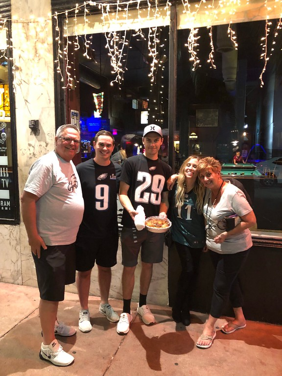 . Celebrated the Eagles game in Miami at The Lost Weekend in South Beach Miami with tons of Philly Delco friends transplanted from home .. it was the next best thing to bring there .. they had Cheese Steaks on Amoroso�s rolls !   Denise Wusinich
