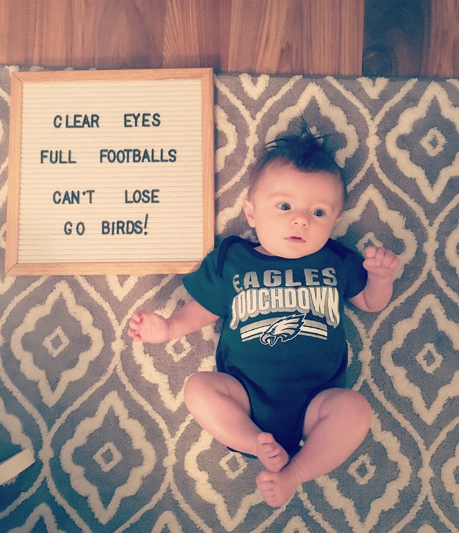 . Baby Angelo Garofalo in Brookhaven has not seen the eagles lose a super bowl in his lifetime!  from Danielle Sweeney